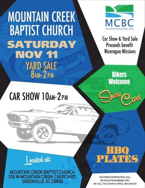 Nov Mountain Creek Baptist Church BBQ Carshow Nextdoor - Car show greenville sc