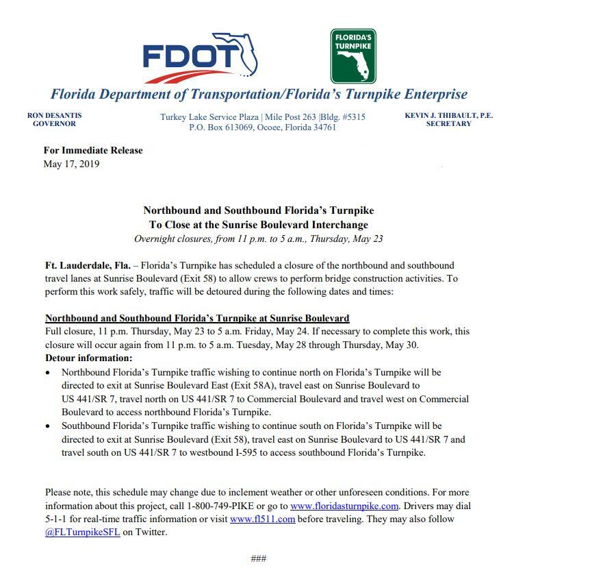Traffic Info - Florida Turnpike and Sunrise Blvd (exit 58
