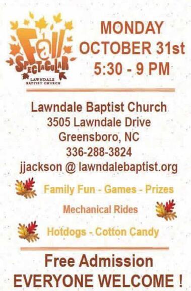 Lawndale Baptist Church Halloween 2020 Oct 31 · Halloween night Fall Festival — Nextdoor