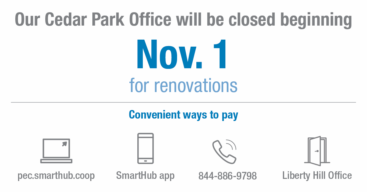 Reminder Cedar Park District Office To Close For Renovations Nov 1