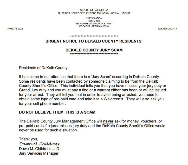 SCAM ALERT! Missed Jury Duty Scam - Please Read and Share