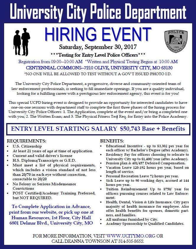 University City Police Department Hiring Event for Police Officers