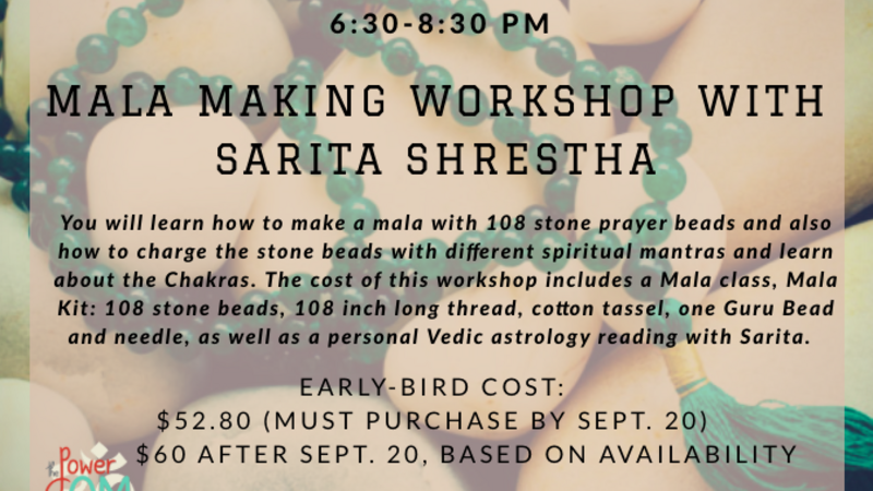 Oct 3 · MALA MAKING WORKSHOP AND VEDIC ASTROLOGY READING- GREAT DATE