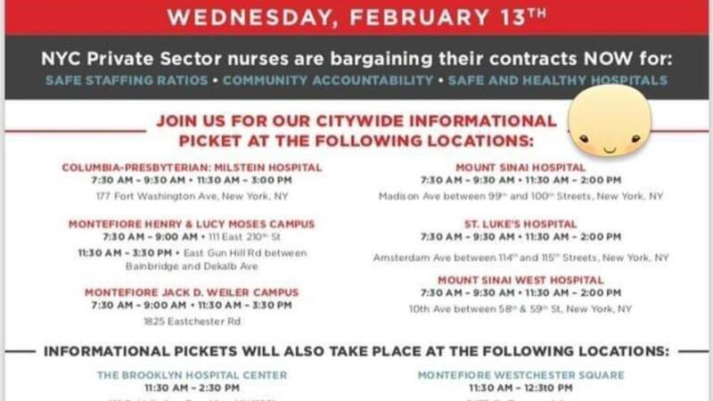 Feb 13 · NYSNA INFORMATIONAL PICKETING FOR SAFE STAFFING AND