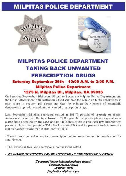 Sep 26 · Milpitas Police Department Prescription Drug Take Back