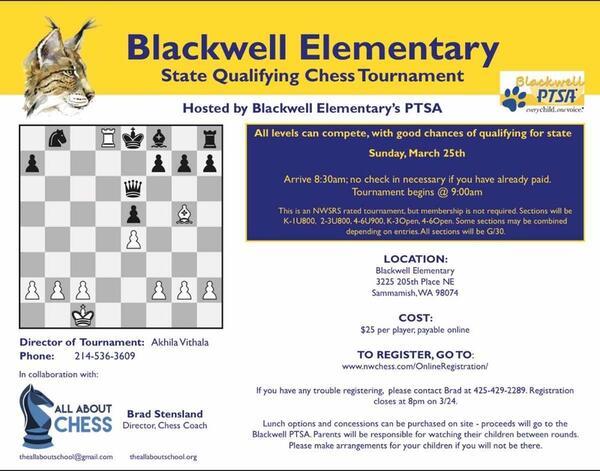 Mar 25 · State qualifying chess tournament in elizabeth