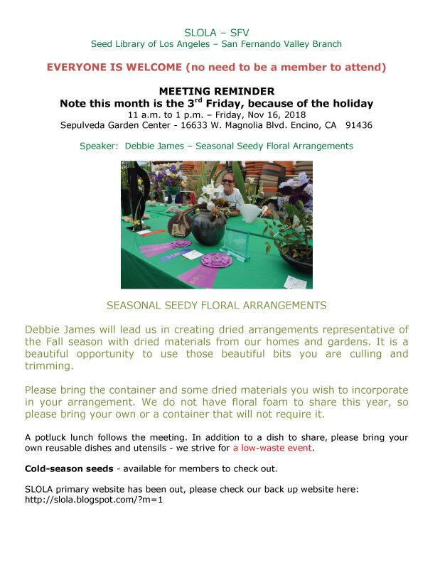 Seed Library of Los Angeles - SFV Meeting Reminder