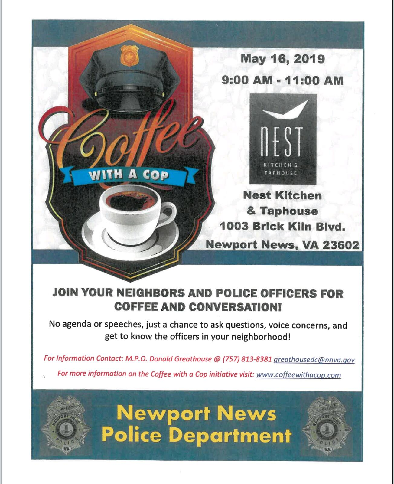 Coffee with a Cop (Newport News Police Department) &mdash