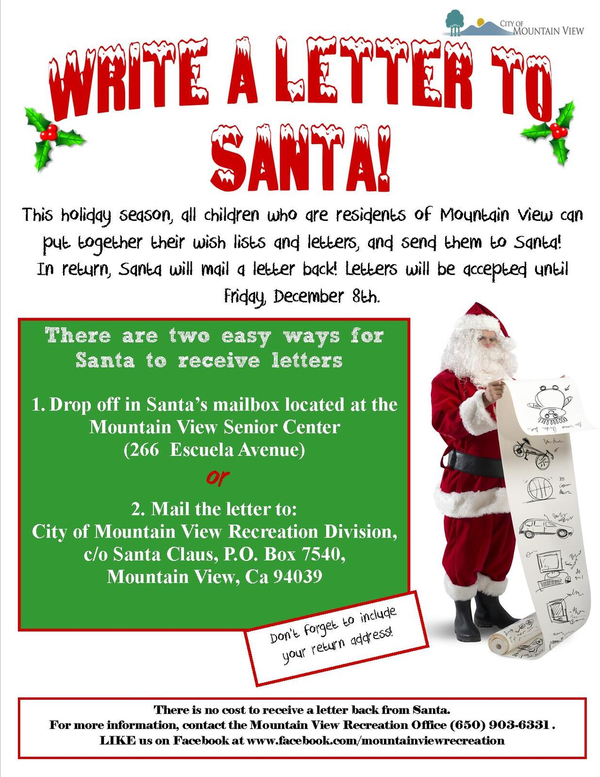 Write a Letter to Santa - Mountain View (City of Mountain View