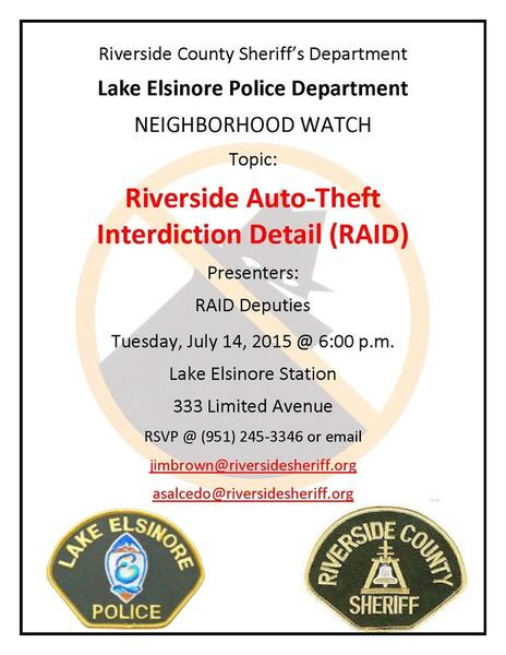 Jul 14 · Neighborhood Watch Block Captain Meeting - Riverside Auto