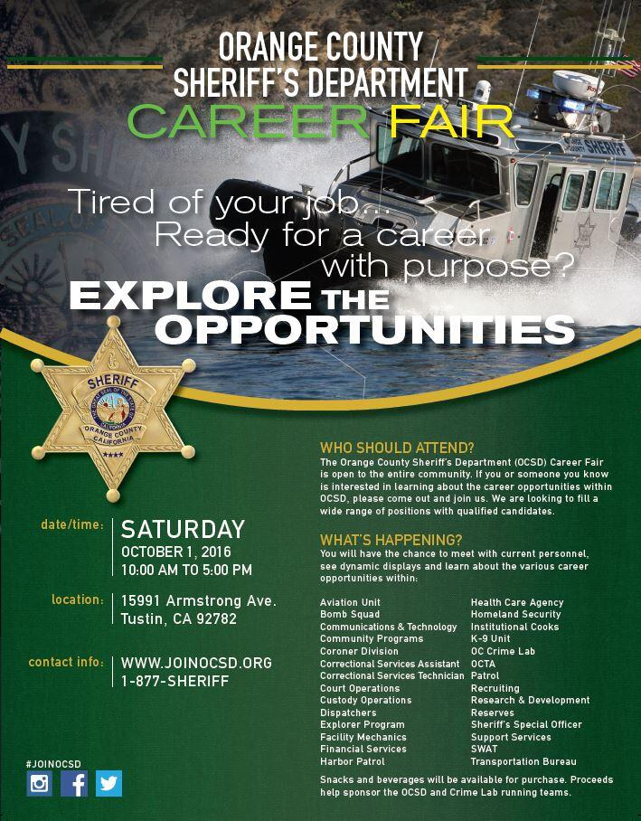OCSD CAREER FAIR - OCTOBER 1 (Orange County Sheriff's
