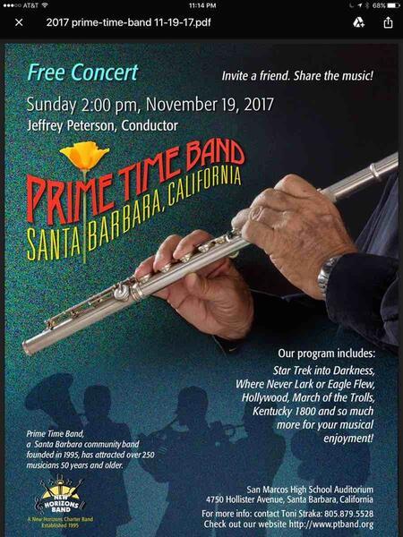 Nov 19 · Prime Time Band Concert — Nextdoor