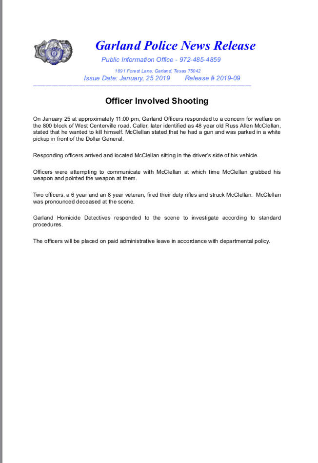 Officer Involved Shooting (Garland Police Department) &mdash