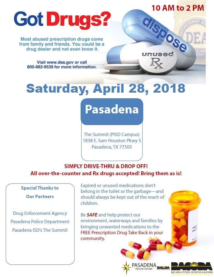 Prescription Drug Take-back Event (Pasadena Police Department ...