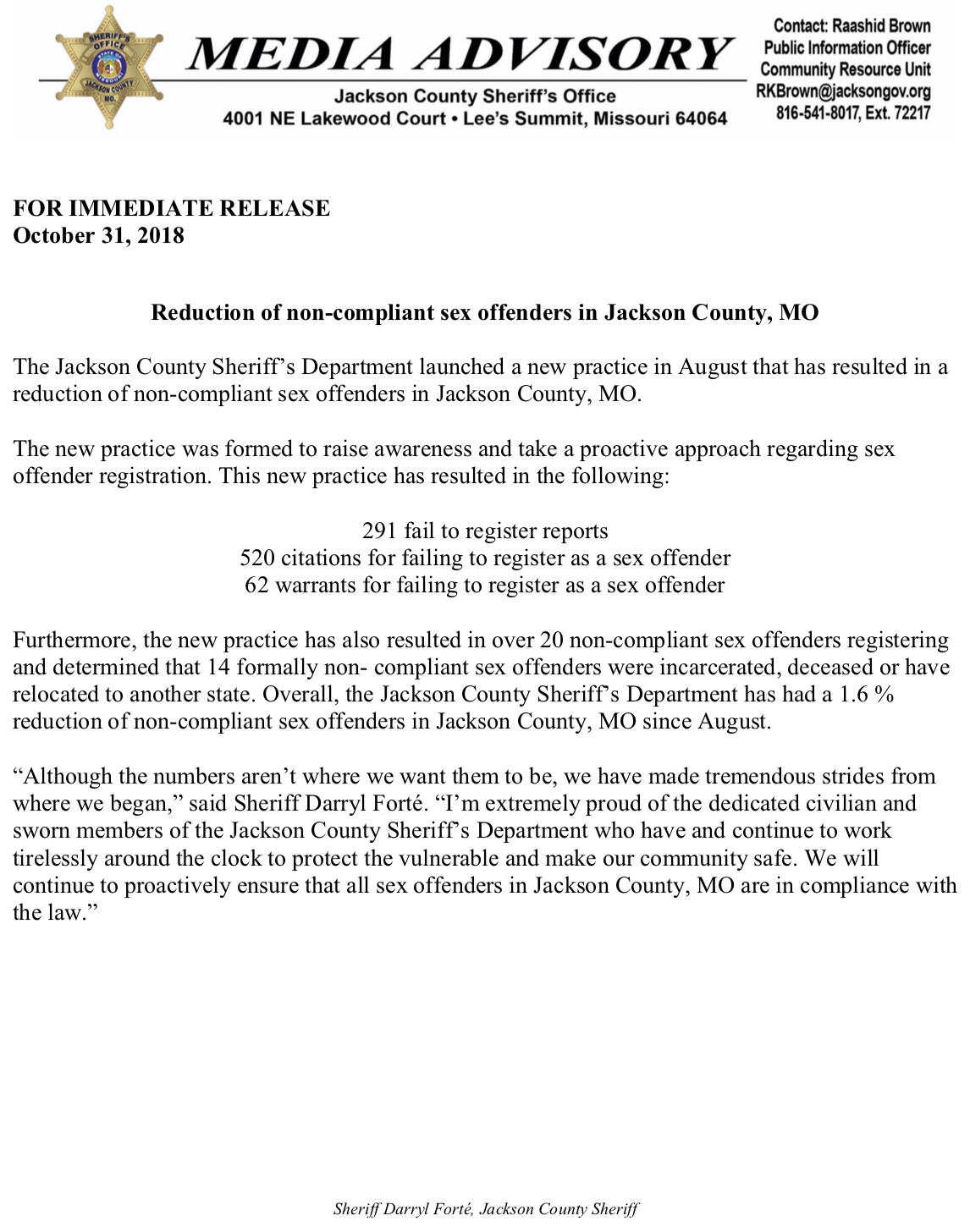 Reduction of non-compliant sex offenders (Jackson County Sheriff's Office)  | Nextdoor