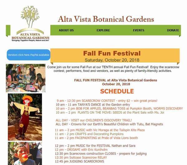 Oct 20 · Alta Vista Botanical Gardens Fall Fun Festival
