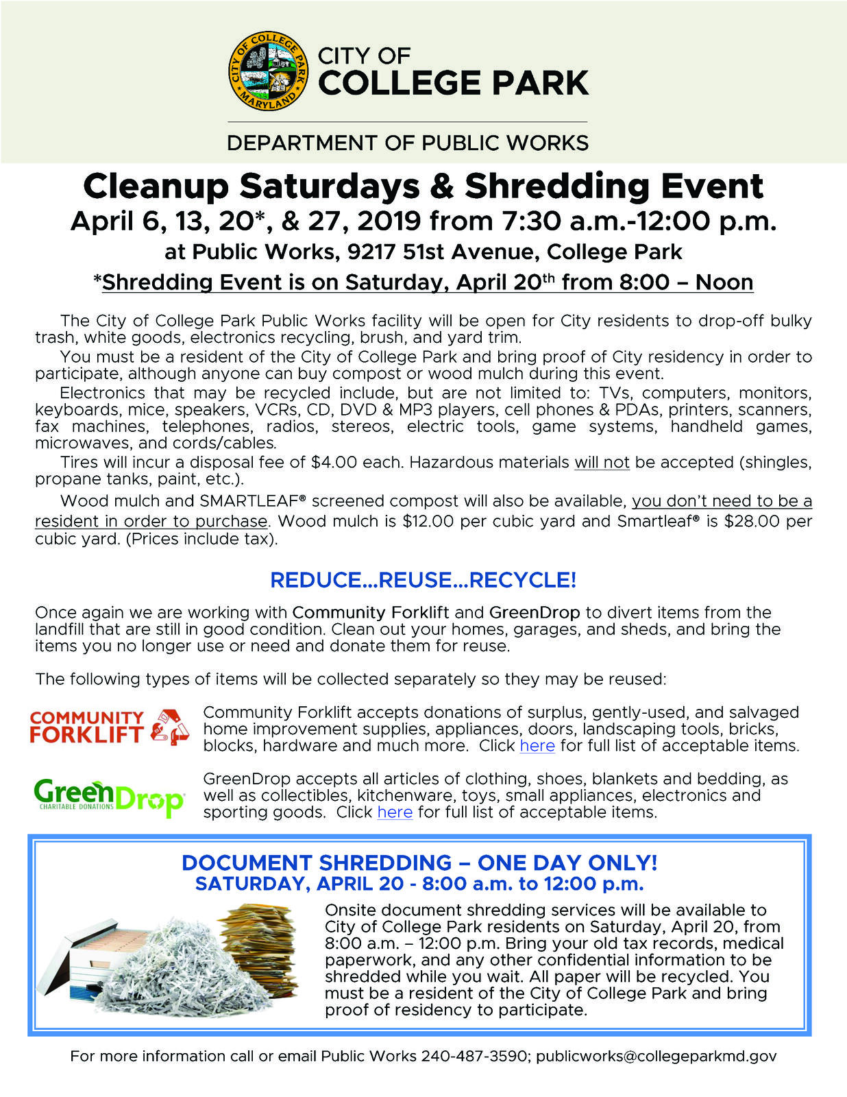 Department of Public Works Cleanup Saturdays Start Tomorrow! (City