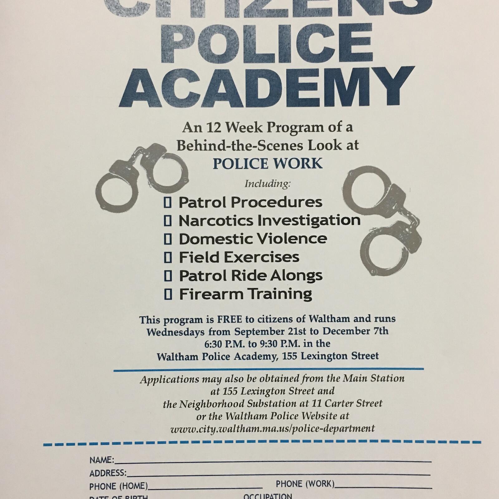 Citizens Police Academy (Waltham Police Department) &mdash