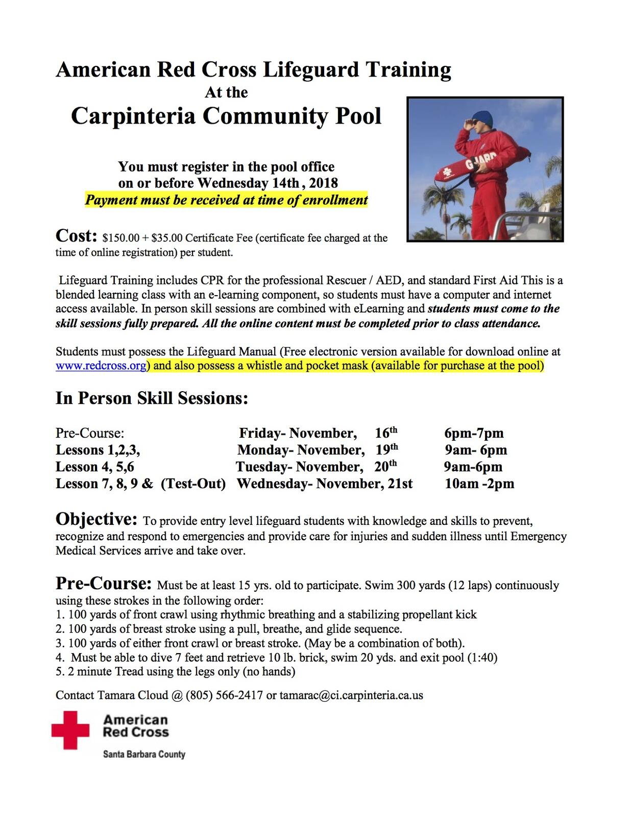 061c311c89a7 Community Pool to Host Lifeguard Training (City of Carpinteria ...
