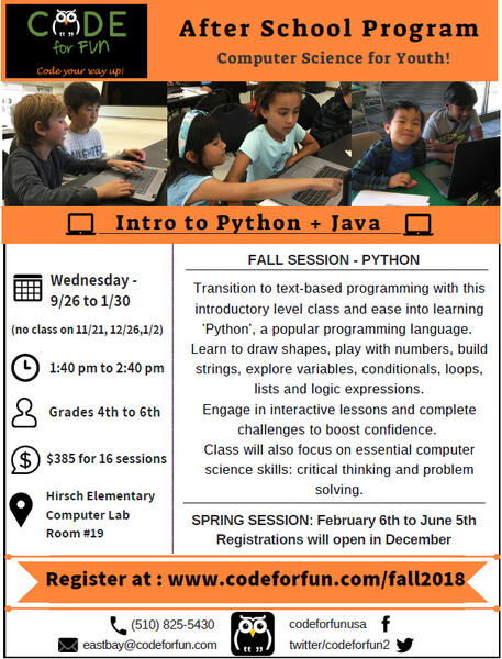 Sep 26 · Hirsch elementary - After school coding class - 4thto 6th
