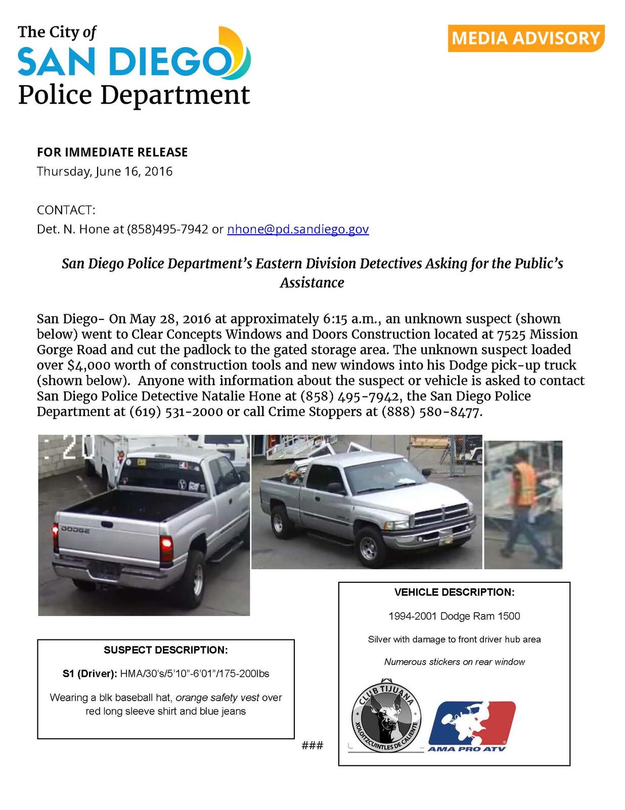 San Diego Police Department's Eastern Division Detectives