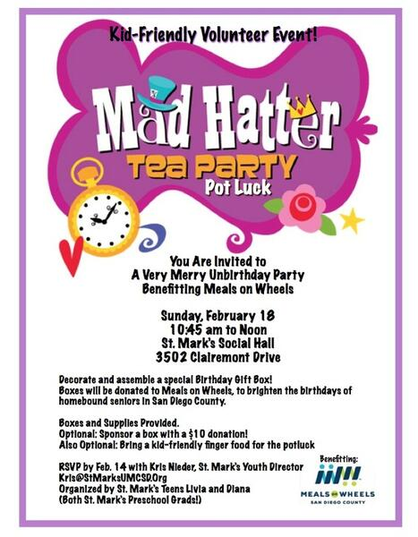 Fun Volunteer Opportunity Mad Hatter Tea Party Potluck