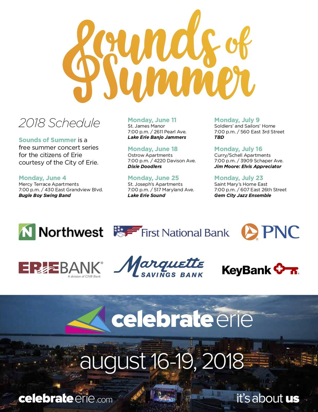 City of Erie 2018 Summer Parks & Recreation Programs (City