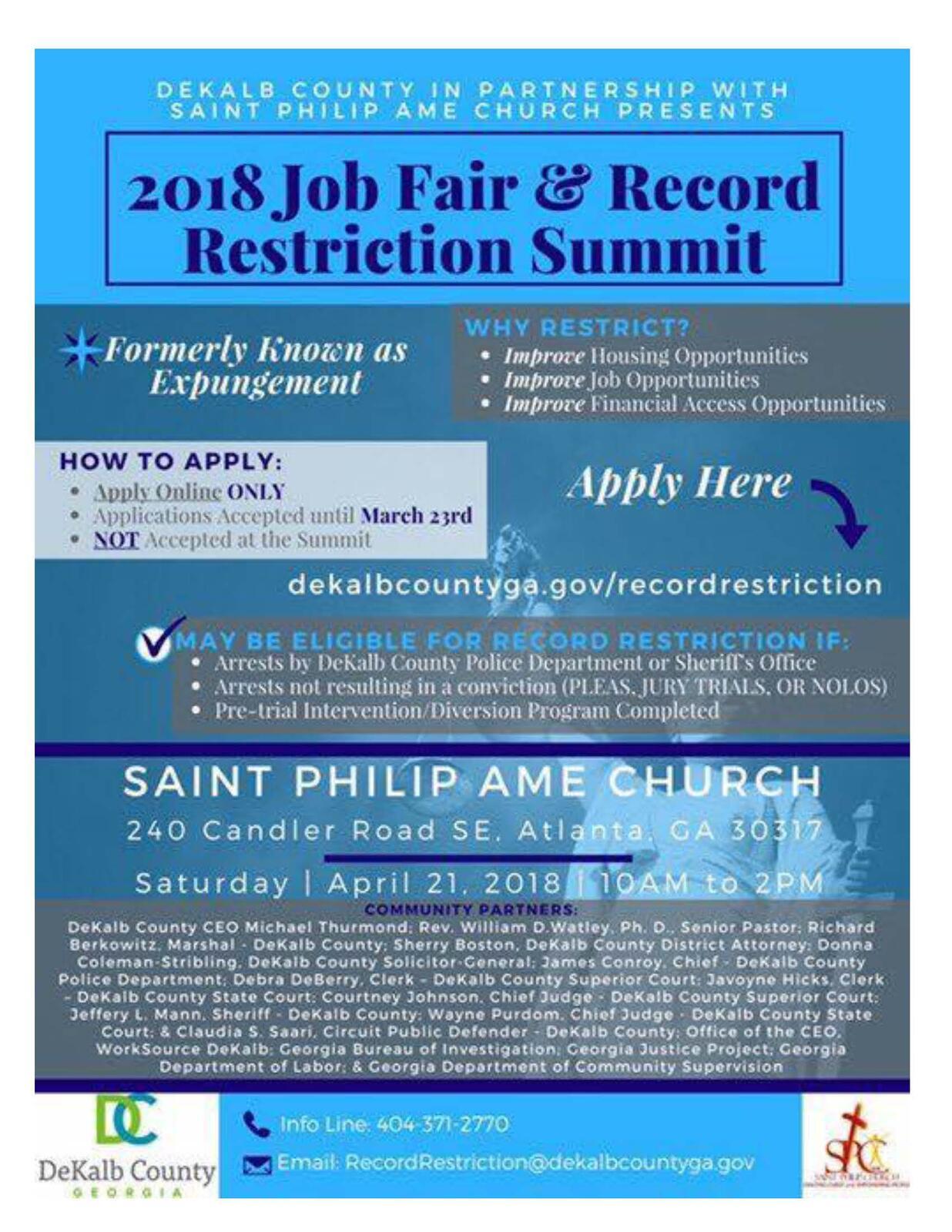 2018 Job Fair and Record Restriction Update! (DeKalb County Police  Department) | Nextdoor