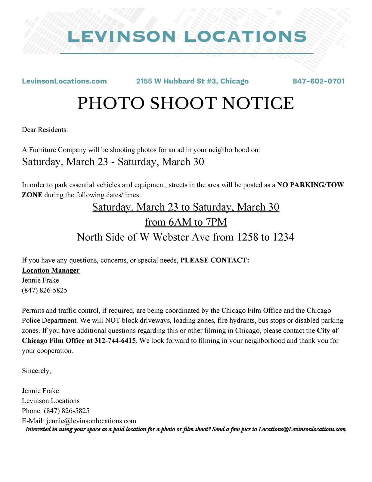 Filming Notice (Chicago City Council) &mdash