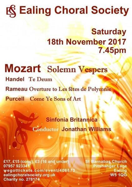 18 Nov 2017 · Mozart's Vespers, Handel's Te Deum, Purcell's