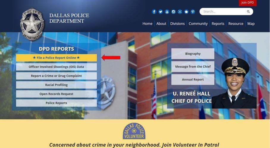 Dallas Police Online Reporting System (Dallas Police