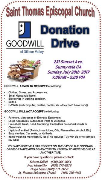 Jul 28 · Goodwill Donation Drive - St  Thomas Episcopal