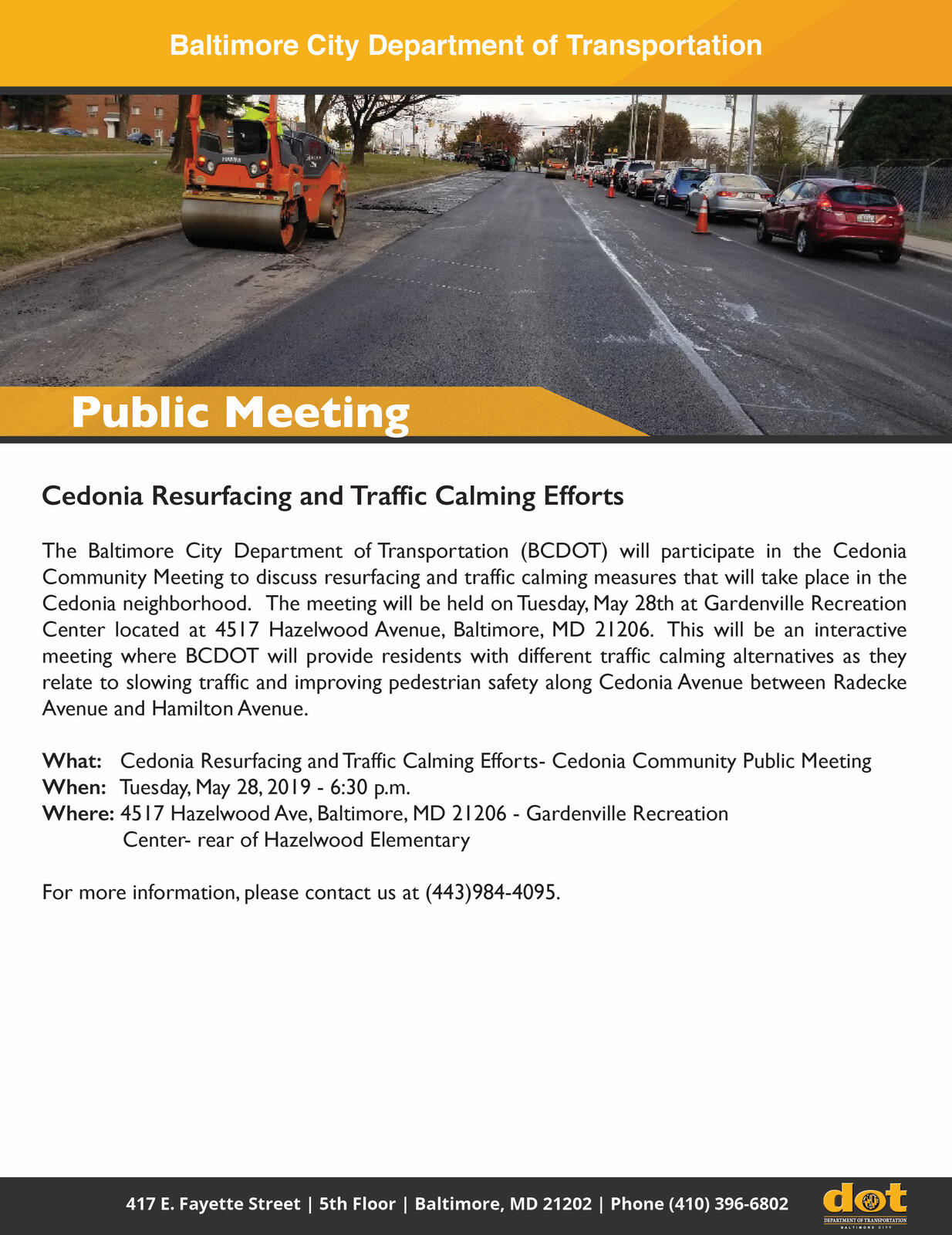 BCDOT to Discuss Upcoming Resurfacing and Traffic Calming