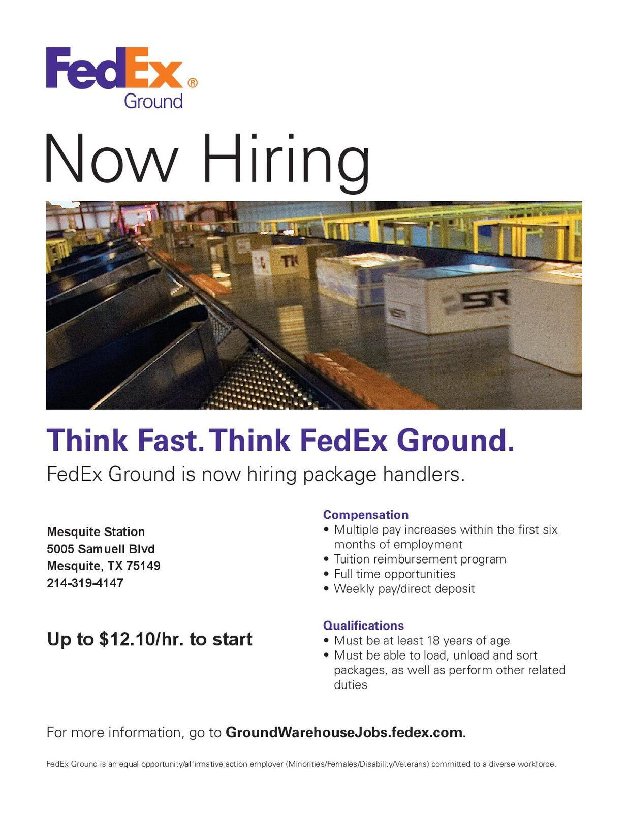 FedEx Ground now hiring package handlers City of Mesquite
