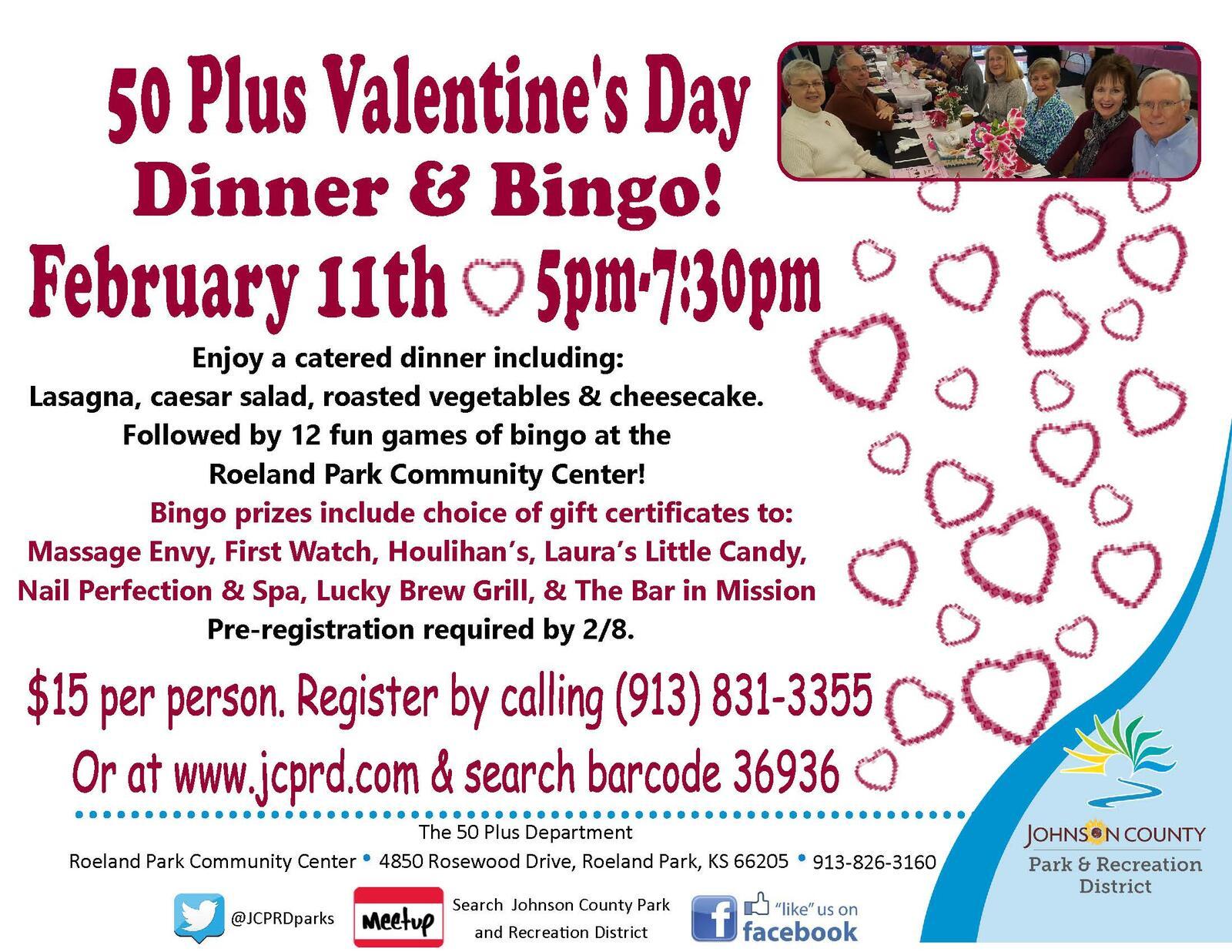 50 Plus Valentine\'s Day Dinner & Bingo! (City of Roeland Park ...