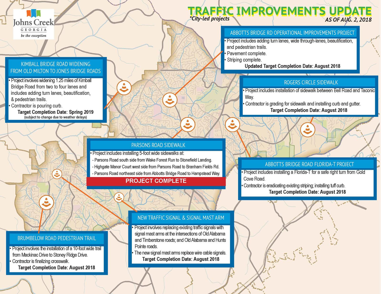 View traffic improvement projects in Johns Creek City of Johns