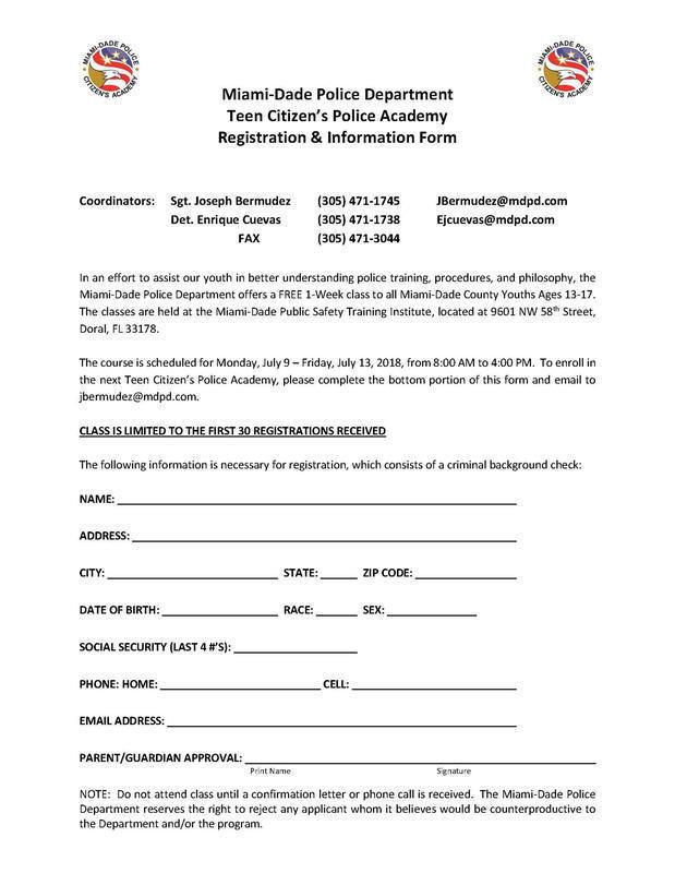2018 Teen Citizen's Police Academy (Miami-Dade Police