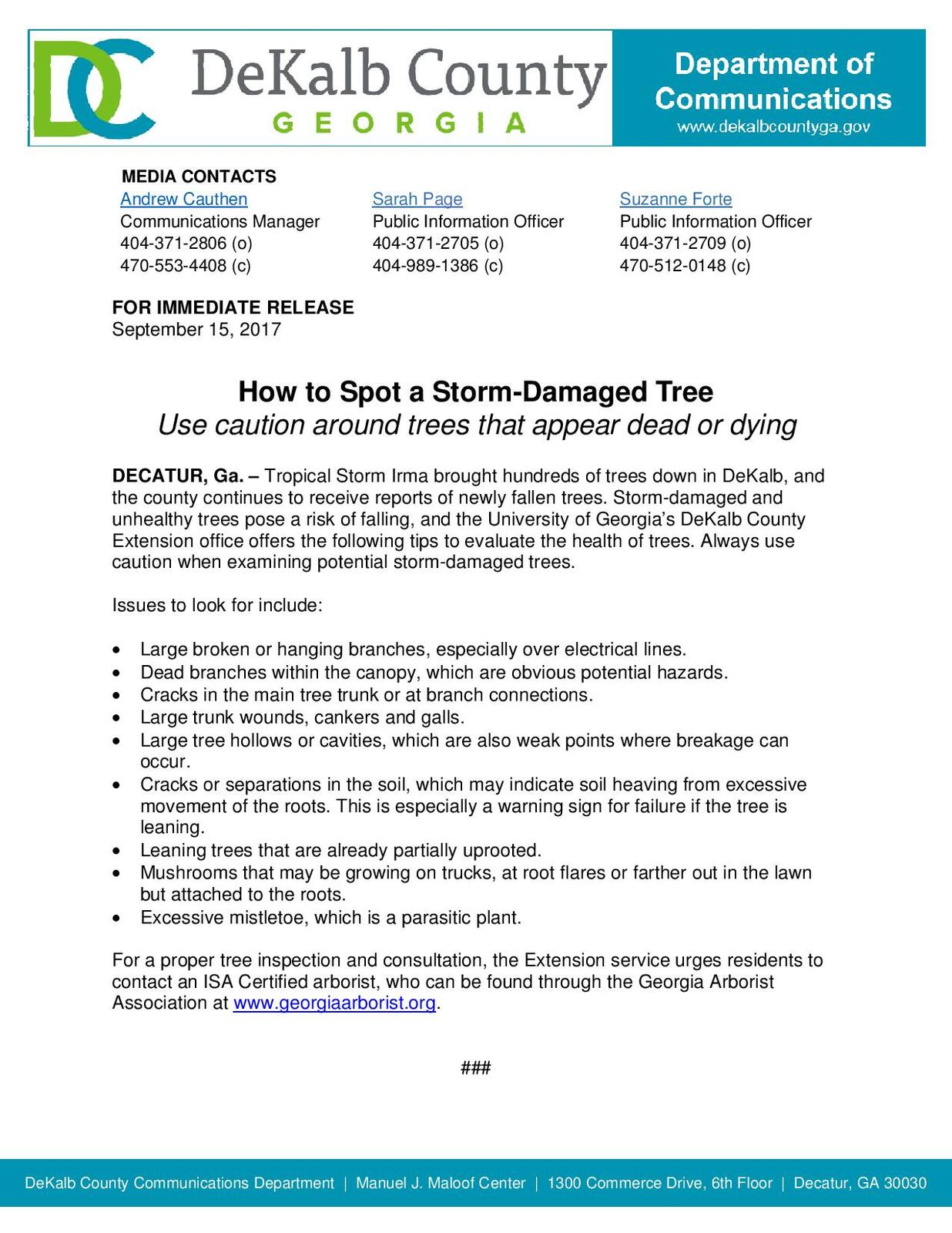 How to Spot a Storm-Damaged Tree (DeKalb County Police Department) |  Nextdoor
