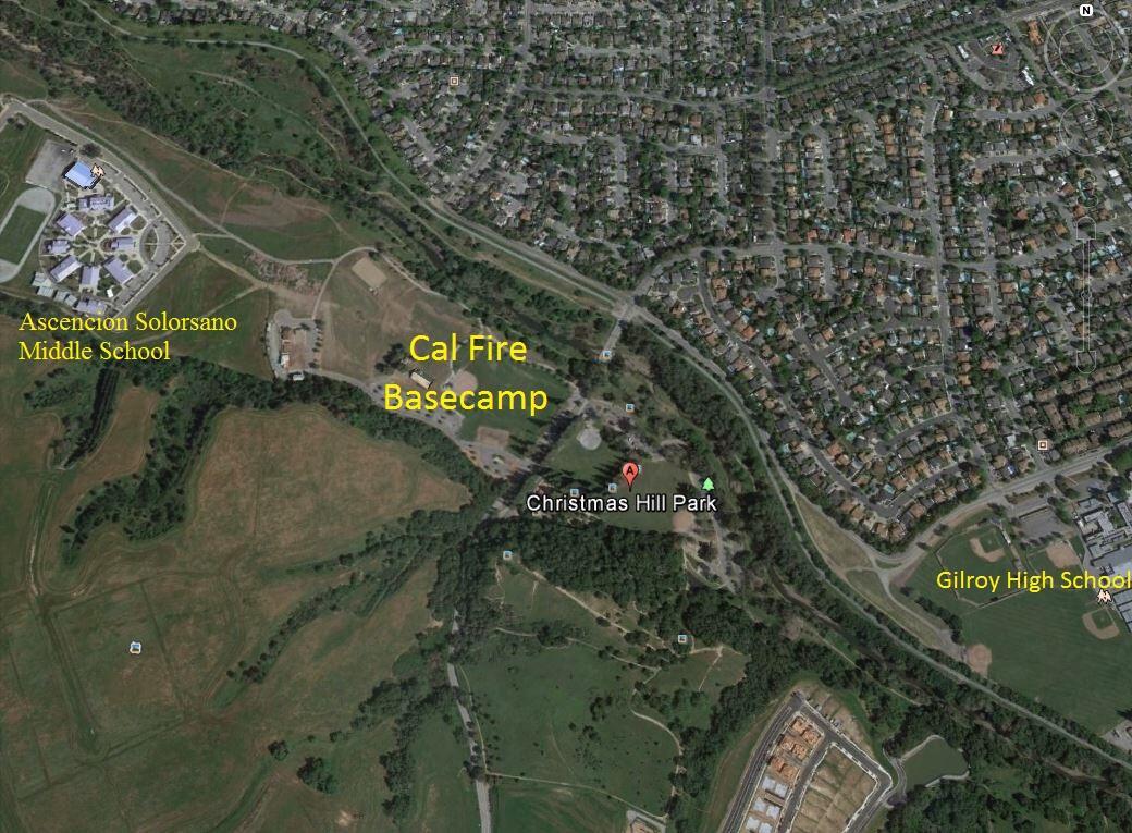 Christmas Hill Park Map.Loma Fire Basecamp At Christmas Hill Park Gilroy Police