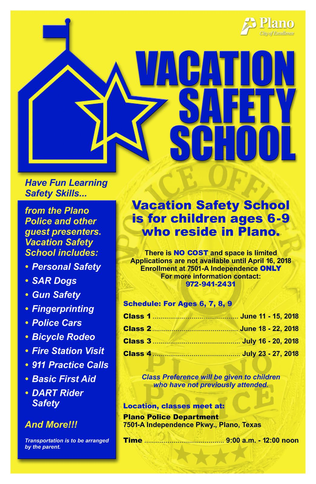 Vacation Safety School sign-ups (Plano Police Department) &mdash