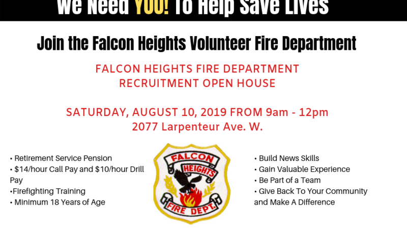 Aug 10 · Falcon Heights Fire Department Recruitment Open House