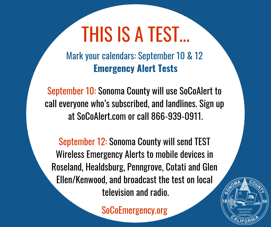 6 PM Today: First SoCo emergency-alert test (City of