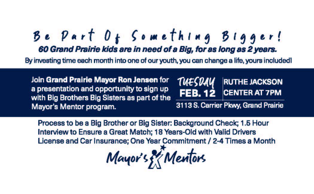 Invitation from GPPD regarding Mayor's Mentors with Big Brothers Big