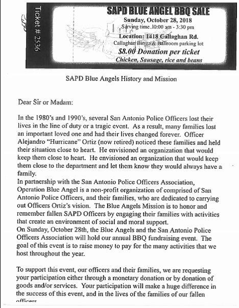 SAPD Blue Angel BBQ Sale (San Antonio Police Department