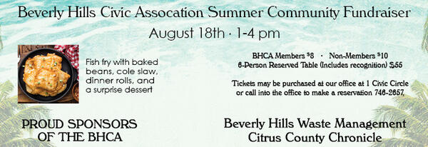 Aug 18 · Beverly Hills Civic Fish Fry and Candidate Meet and