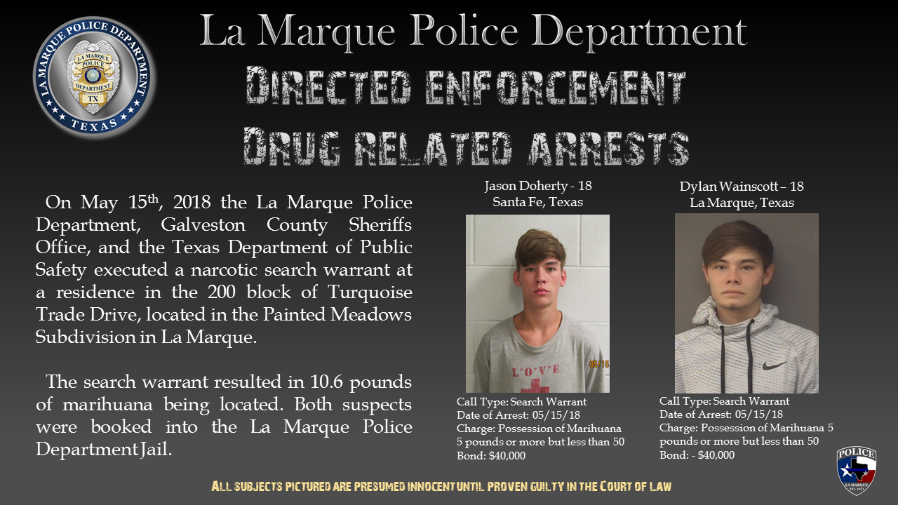 Execution of a search warrant in Painted Meadows (La Marque