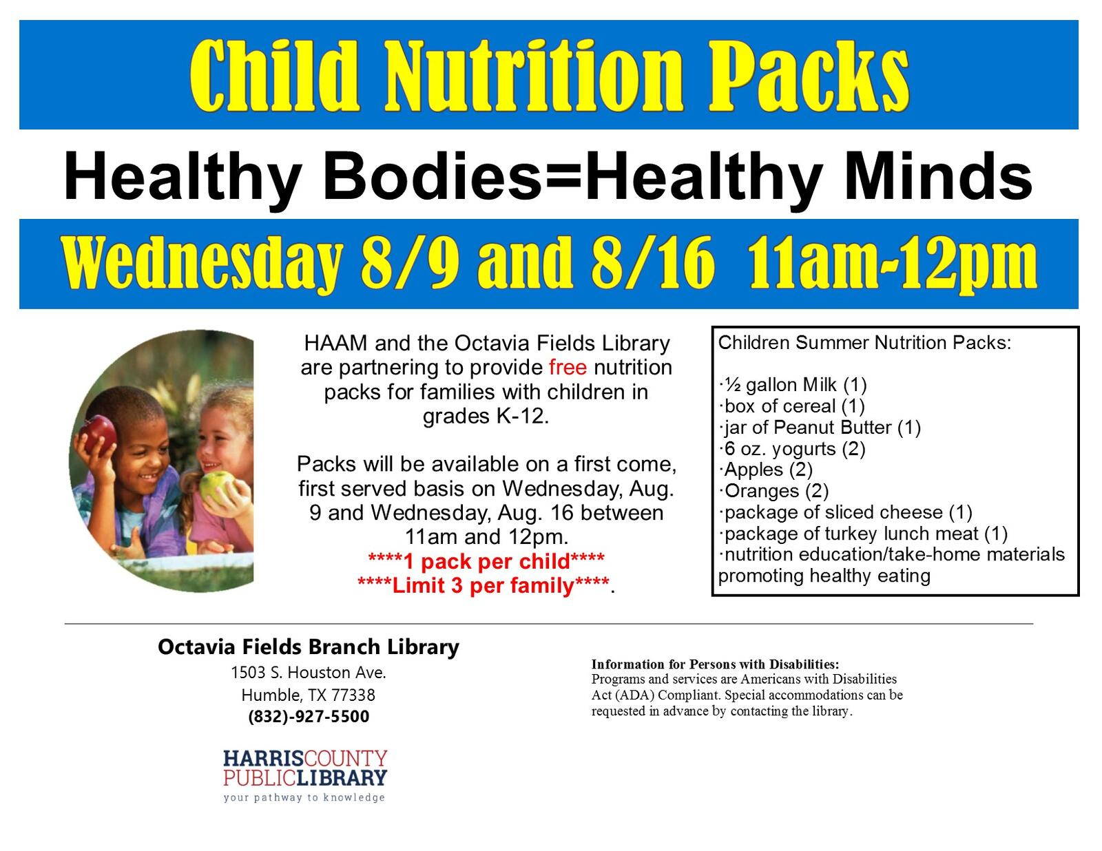 c2a1f45dd10d79 Summer Nutrition Packs at the Octavia Fields Library (Harris County Public  Libraries)