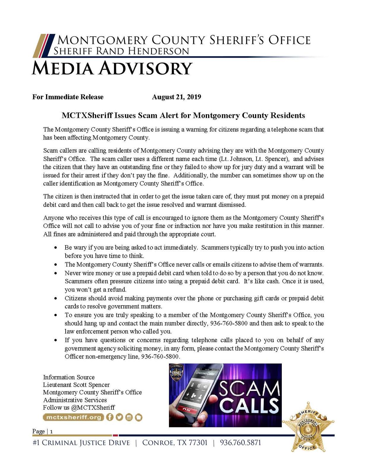 MCTXSheriff Issues Scam Alert for Montgomery County