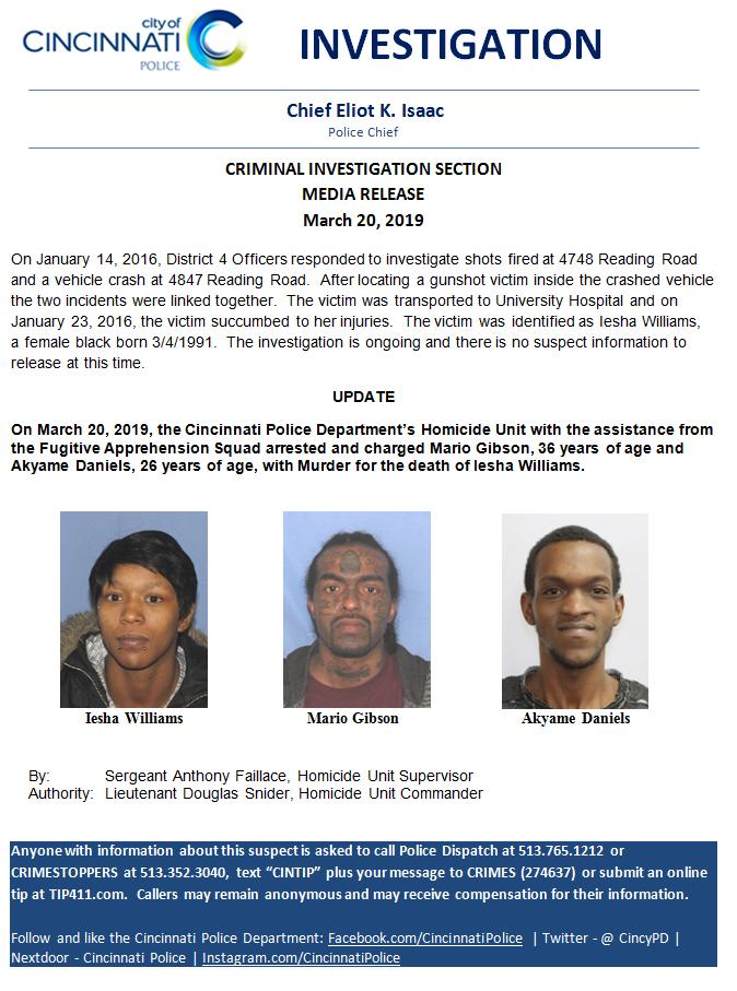 Homicide Arrest (Cincinnati Police Department) &mdash
