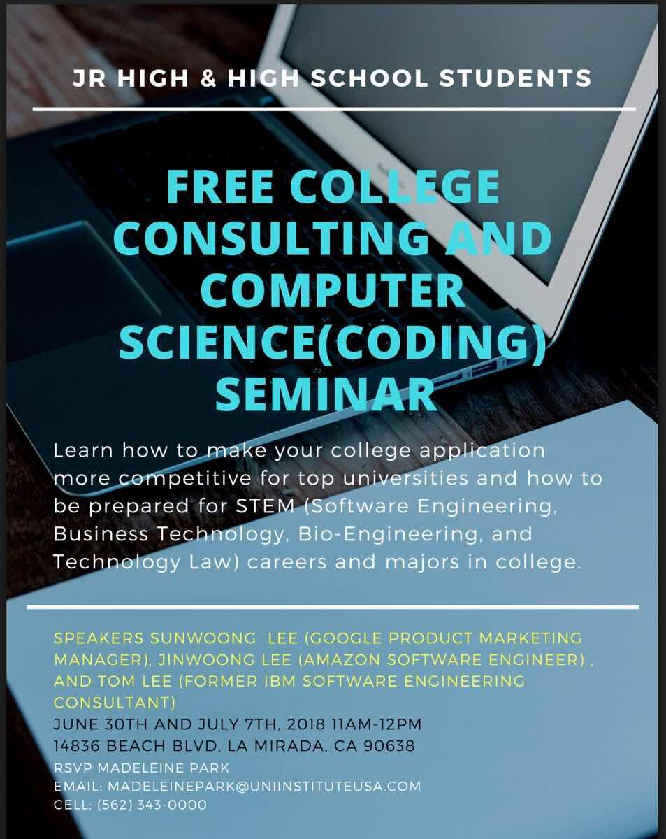 Free College Consulting And STEM Seminar For Junior High School Students